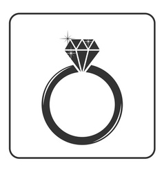 Diamond engagement ring icon 2 vector image vector image