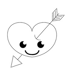Dotted shape smile heart with arrow kawaii vector