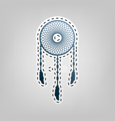 Dream catcher sign blue icon with outline vector