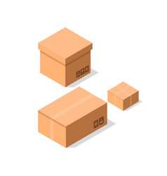 Empty brown cardboard boxes icon set vector