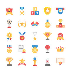 Flat icons of rewards and medals vector