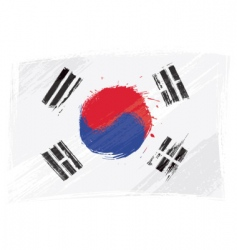 grunge South Korea flag vector image vector image