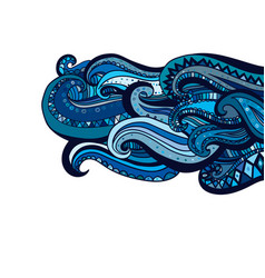 Hand drawn wave abstract ornamental ethnic vector