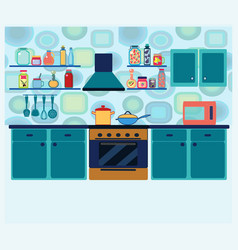 Interior kitchen with cooking equipment in vector