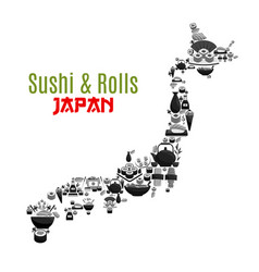 Japanese map poster for sushi food vector