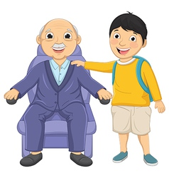 Kid and Old Man vector image