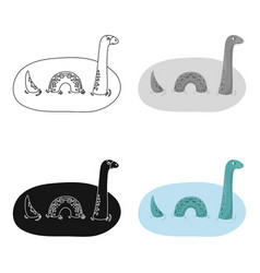 Loch ness monster icon in cartoon style isolated vector