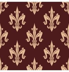 Medieval beige fleur-de-lis floral pattern vector