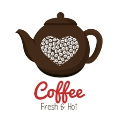 Pot coffee heart graphic isolated vector