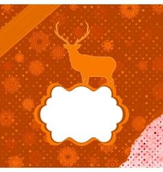 Santa Claus Deer vintage Christmas card EPS 8 vector image vector image