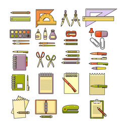 Set of flat design cute colorful stationery vector