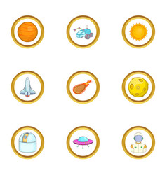 Space technology icons set cartoon style vector