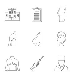 surgery correction icon set outline style vector image