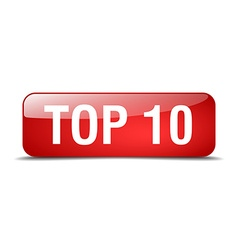 Top 10 red square 3d realistic isolated web button vector
