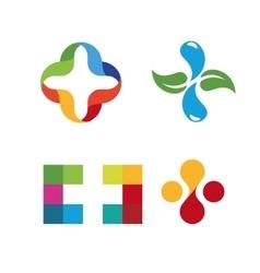 Unusual cross logo set healthcare isolated vector