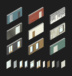 Wall patterns with doors and windows vector