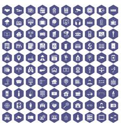 100 camera icons hexagon purple vector