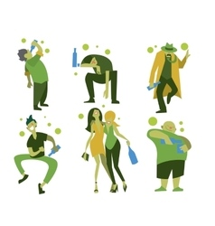 Drunk people men and women vector