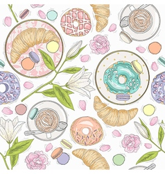 Seamless breakfast pattern flowers and coffee vector