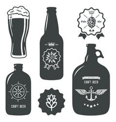 Vintage craft beer brewery bottles label sign vector