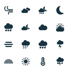 Climate icons set collection of douche breeze vector