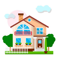 Nice town house with white fence and green trees vector