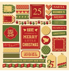 christmas vintage scrapbook design elements set vector image