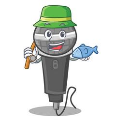 Fishing microphone cartoon character design vector