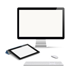 Realistic tablet computer monitor with keyboard vector image