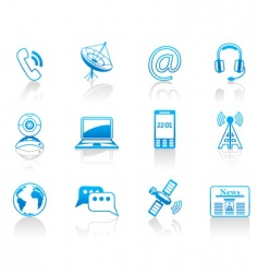 Communication blue icon set vector