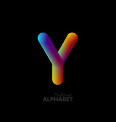3d iridescent gradient letter y vector