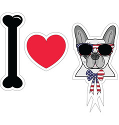 I love french bulldog with american symbols vector