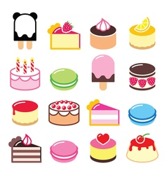Dessert icons set - cake macaroon ice-cream icon vector