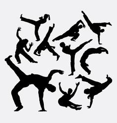 Capoeira sport dance silhouettes vector image