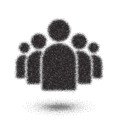 Group of people dotwork style icon halftone group vector