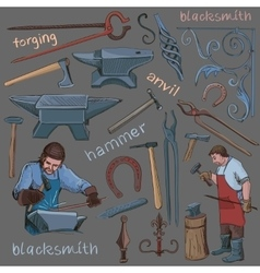 Collection of hand drawn blacksmith icons vector