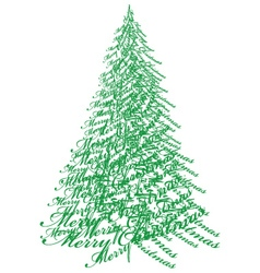 Christmas tree with text vector image