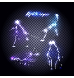 Set of bright lightning design vector
