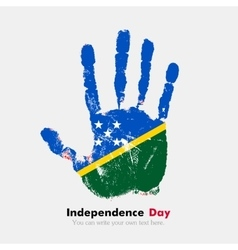 Handprint with the flag of solomon islands in vector