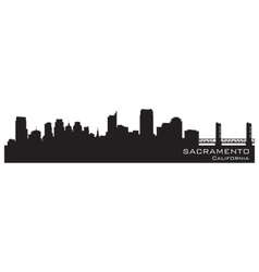 Sacramento california skyline detailed silhouette vector
