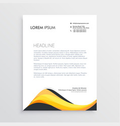 Abstract yellow letterhead design template vector