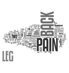 Back and leg pain text word cloud concept vector