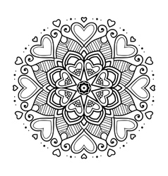 Black floral mandala with hearts vector image vector image