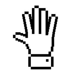 black outline pixelated open hand vector image