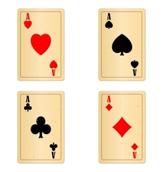 Blank old play cards four aces vector image