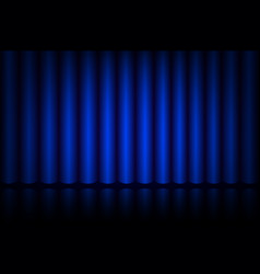 Blue curtain on stage in the theater vector