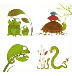 Cartoon Reptile Animals Parent with Baby vector image vector image