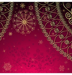 Christmas gold and purple frame vector image