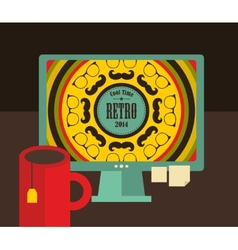 Computer screen i retro colors vector image vector image