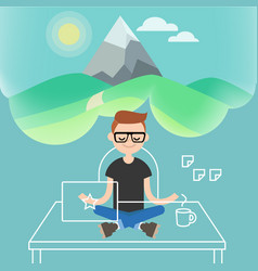 Dealing with stress young character meditating in vector